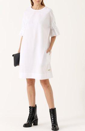 Хлопковое платье свободного коя с укороченным рукавом Yohji Yamamoto белое   Фото №1