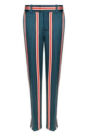 Шелковые брюки прямого кроя в полоску   Фото №1