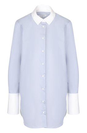 Женская хлопковая блуза с контрастными манжетами и воротником Equipment, цвет синий, арт. Q3032-E911B в ЦУМ | Фото №1
