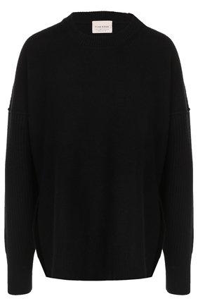 Шерстяной пуловер с круглым вырезом Fine Edge черный | Фото №1