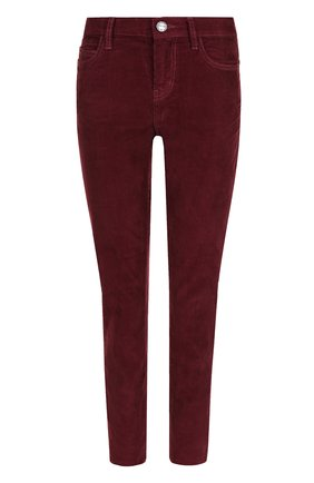 Укороченные вельветовые джинсы Current/Elliott бордовые   Фото №1