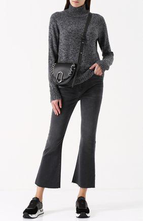 Укороченные расклешенные джинсы с потертостями Current/Elliott черные   Фото №1
