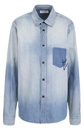 Джинсовая блуза прямого кроя с потертостями
