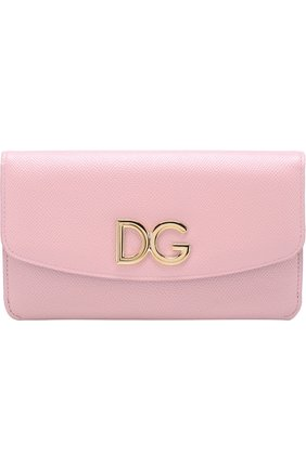 Набор из кожаного портмоне и футляров Dolce & Gabbana розового цвета | Фото №1