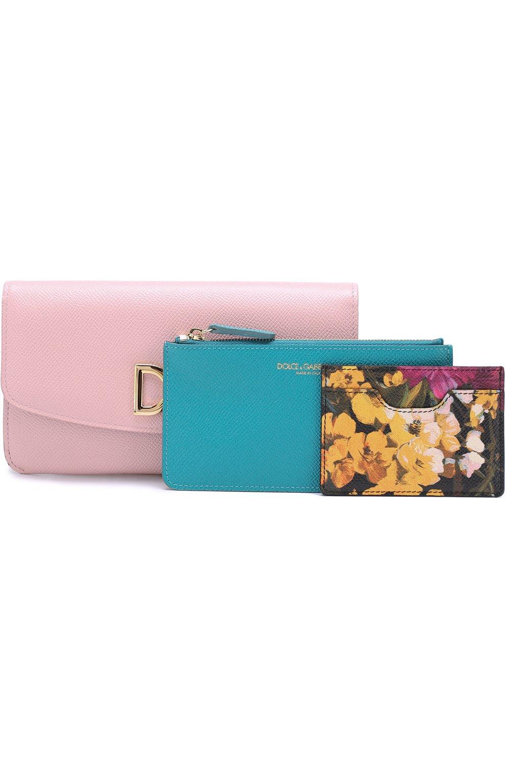 Набор из кожаного портмоне и футляров Dolce & Gabbana розового цвета | Фото №4