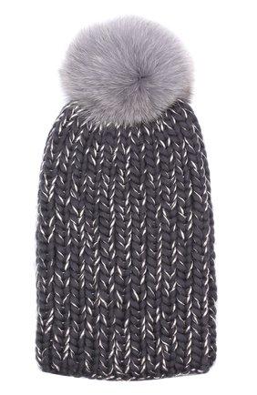 Шапка из смеси шерсти и вискозы фактурной вязки с меховым помпоном Eugenia Kim темно-серого цвета | Фото №1