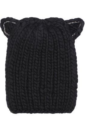 Шерстяная шапка фактурной вязки с декоративной отделкой Eugenia Kim черного цвета | Фото №1