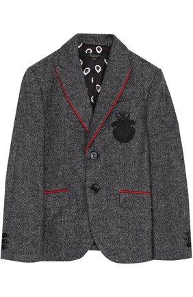 Однобортный пиджак с контрастной окантовкой и вышивкой | Фото №1