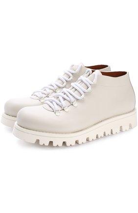 Кожаные ботинки на шнуровке Zegna Couture белые | Фото №1