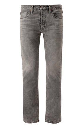 Мужские джинсы прямого кроя с потертостями TOM FORD серого цвета, арт. BNJ15/TFD002 | Фото 1