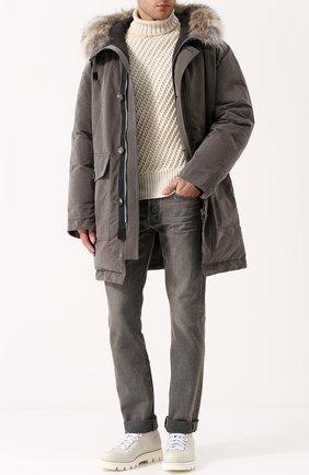 Мужские джинсы прямого кроя с потертостями TOM FORD серого цвета, арт. BNJ15/TFD002 | Фото 2
