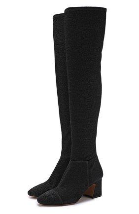 Ботфорты из металлизированного текстиля на устойчивом каблуке Alexandre Birman черные   Фото №1