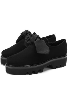 Замшевые ботинки Fabula с внутренней отделкой из овчины Steiger черные | Фото №1