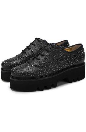Кожаные ботинки Isla с заклепками Steiger черные | Фото №1