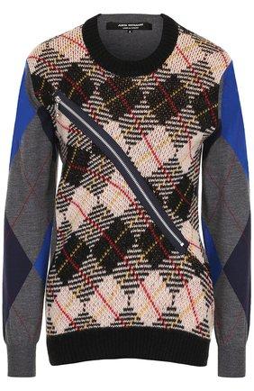 Шерстяной пуловер с круглым вырезом Junya Watanabe разноцветный | Фото №1
