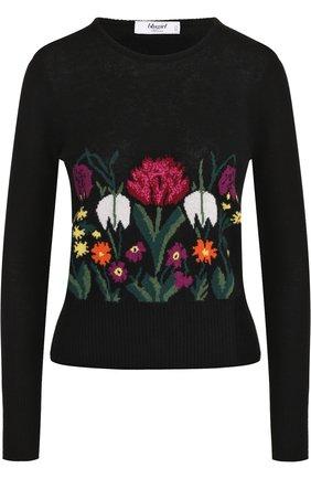 Шерстяной пуловер с цветочным принтом Blugirl черный | Фото №1