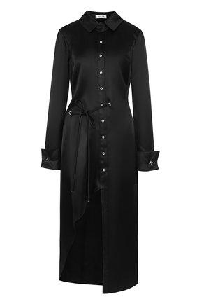 Шелковое платье-рубашка с высоким разрезом Mugler черное | Фото №1