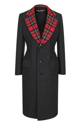 Приталенное шерстяное пальто с контрастными лацканами Junya Watanabe серого цвета | Фото №1