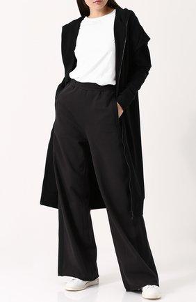 Расклешенные хлопковые брюки с карманами Nude серые   Фото №1