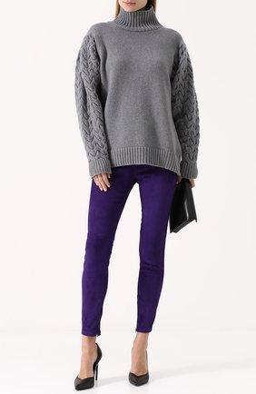 Женские замшевые брюки-скинни RALPH LAUREN фиолетового цвета, арт. 290618851 | Фото 2