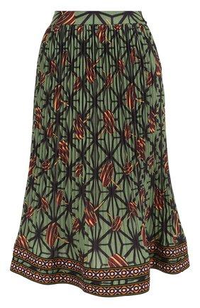 Плиссированная юбка-миди с принтом и широким поясом | Фото №1