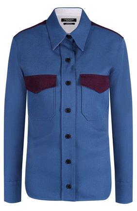 Приталенная блуза с декорированным накладными карманами | Фото №1