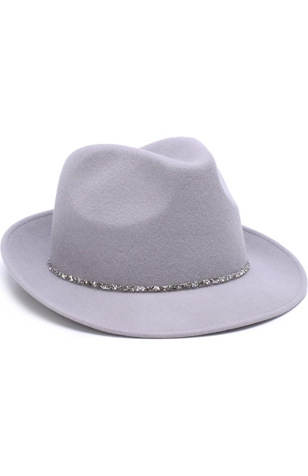 f8ccda41f6f7 Шерстяная шляпа с отделкой стразами EUGENIA KIM светло-серого цвета —  купить за 29900 ...
