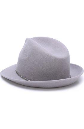 Шерстяная шляпа с отделкой из страз Eugenia Kim светло-серого цвета | Фото №1
