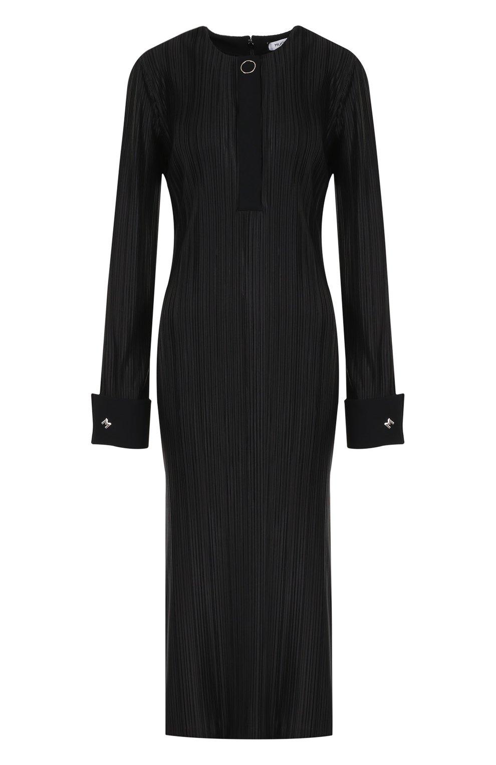 Плиссированное платье-миди с высокими разрезами | Фото №1