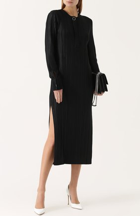 Плиссированное платье-миди с высокими разрезами | Фото №2
