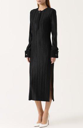 Плиссированное платье-миди с высокими разрезами | Фото №3