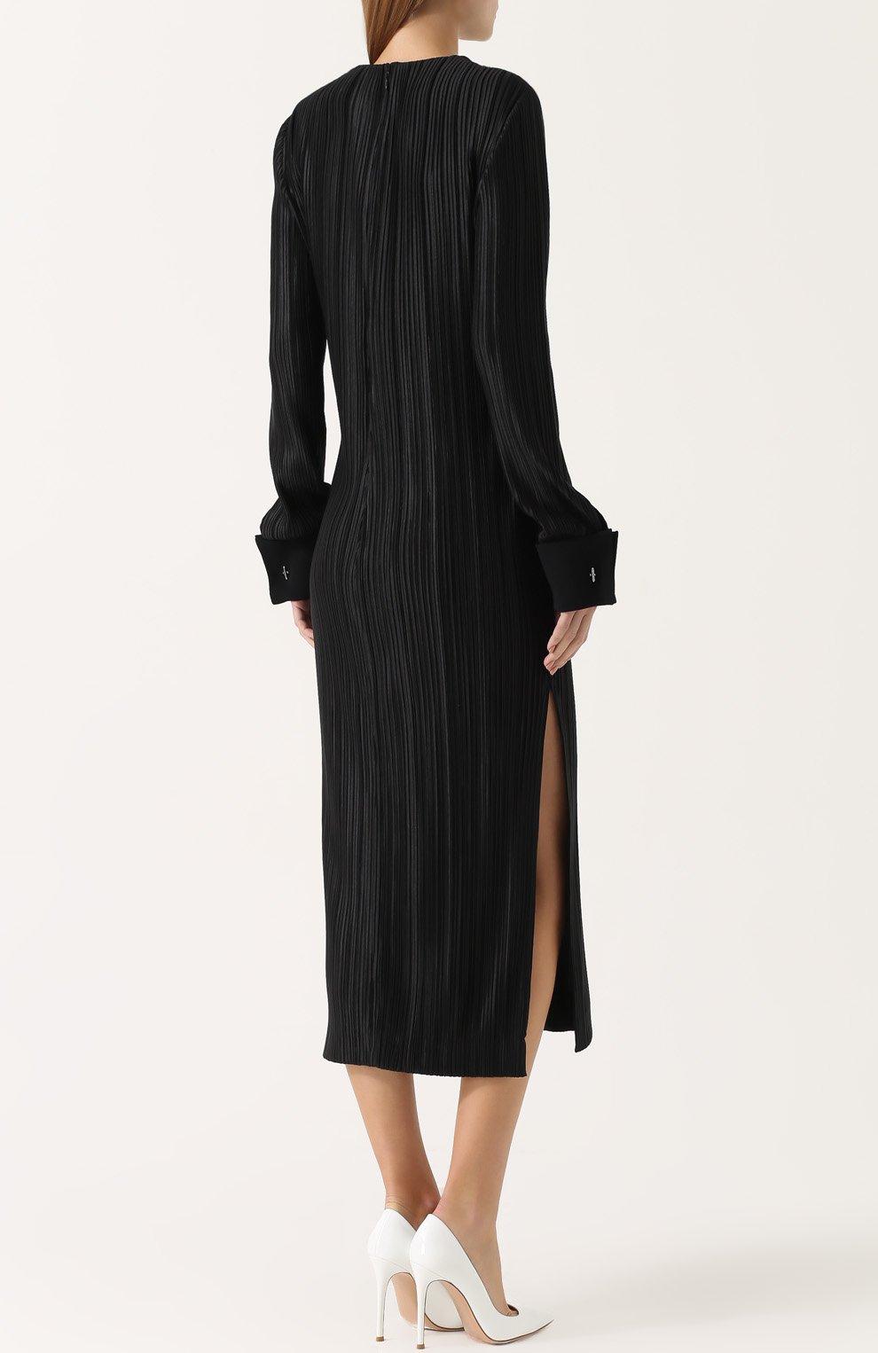 Плиссированное платье-миди с высокими разрезами | Фото №4
