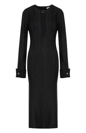 Плиссированное платье-миди с высокими разрезами Mugler черное | Фото №1