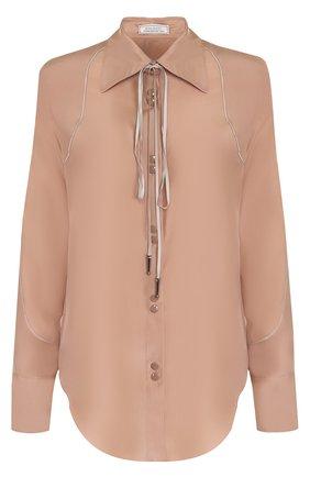 Шелковая блуза прямого кроя с воротником аскот   Фото №1
