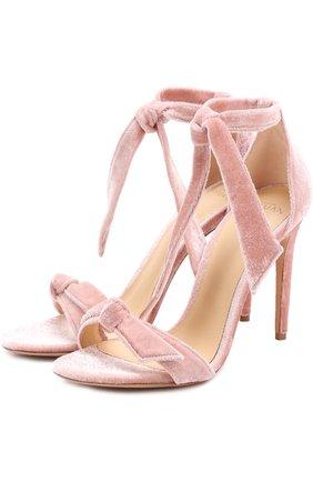 Бархатные босоножки Clarita на шпильке Alexandre Birman розовые   Фото №1