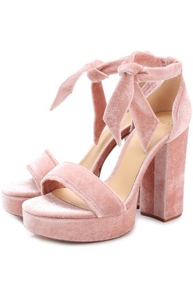 Бархатные босоножки Celine на устойчивом каблуке Alexandre Birman розовые   Фото №1
