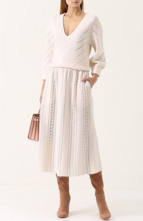 Шерстяная юбка-миди в полоску Molli кремовая | Фото №1