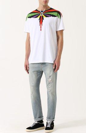 Хлопковая футболка с принтом Marcelo Burlon белая   Фото №1