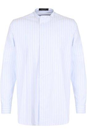 Хлопковая рубашка свободного кроя  Cedric Charlier голубая | Фото №1