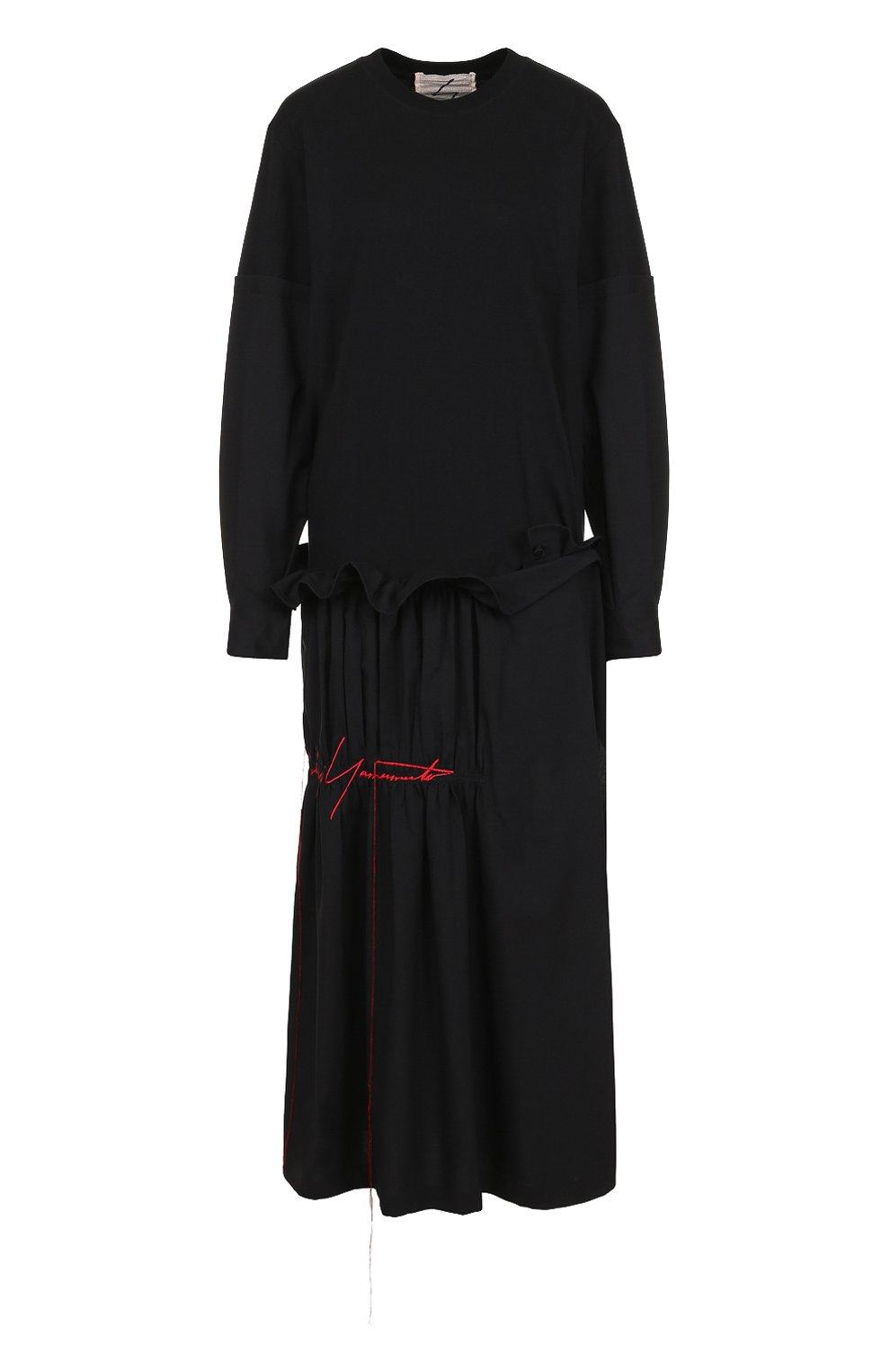 9e3143ac4e61 Женское черное платье-миди с длинным рукавом и драпировкой YOHJI YAMAMOTO —  купить за ...