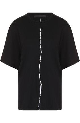 Хлопковая футболка с круглым вырезом Haider Ackermann черная | Фото №1
