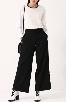 Шерстяные расклешенные брюки с карманами Yohji Yamamoto черные   Фото №1