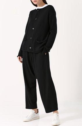 Шерстяные брюки с заниженной линией шага Yohji Yamamoto черные   Фото №1