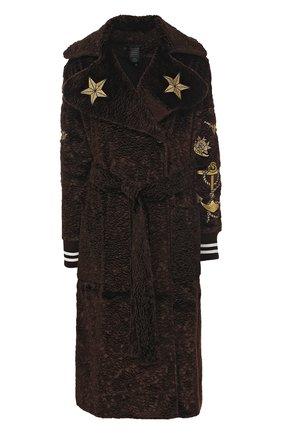 Пальто с поясом и контрастными вышивками Victoria/Tomas коричневого цвета   Фото №1