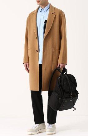 Текстильный рюкзак с клапаном и внешним карманом на молнии Ermenegildo Zegna черный | Фото №1