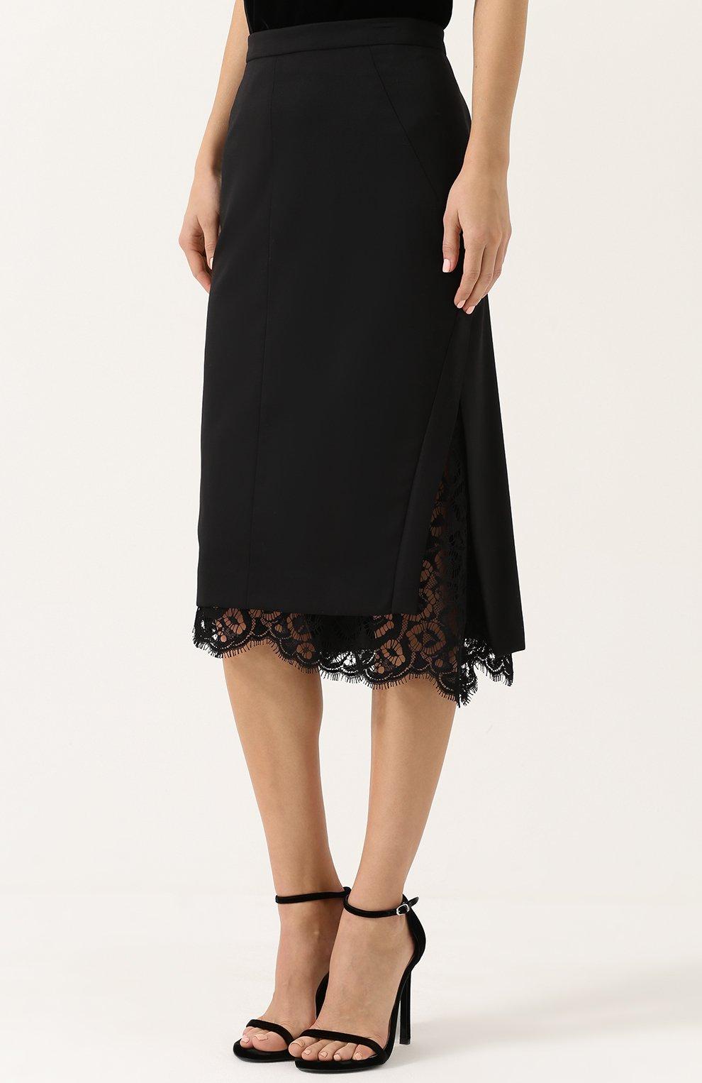 1206565ed1c Женская черная шерстяная юбка-миди с кружевной вставкой DOROTHEE ...
