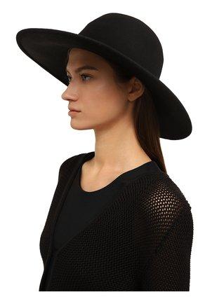Шерстяная шляпа с отделкой стразами Eugenia Kim черного цвета | Фото №1