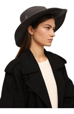 Шерстяная шляпа с отделкой жемчужинами Eugenia Kim серого цвета | Фото №1