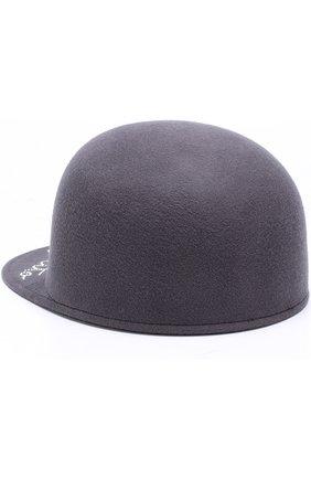 Шерстяное кепи с отделкой стразами Eugenia Kim серого цвета | Фото №1