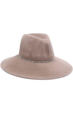 Фетровая шляпа с отделкой стразами Eugenia Kim бежевого цвета | Фото №1